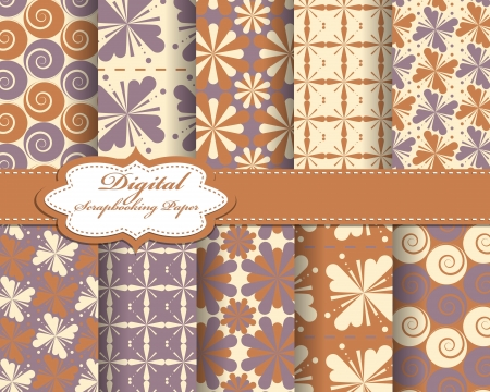 set of  pattern paper for scrapbook Stock Vector - 16725863