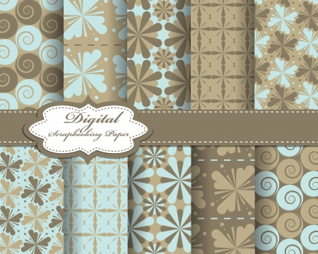 set of pattern paper for scrapbook Stock Vector - 16725843