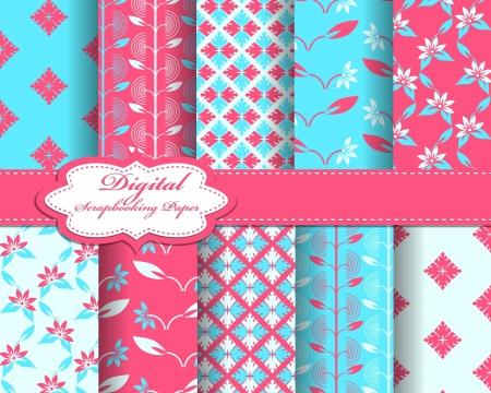 set of flower pattern paper for scrapbook Stock Vector - 16858564