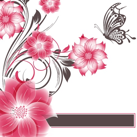abstract flower background with butterfly Stock Vector - 16969175