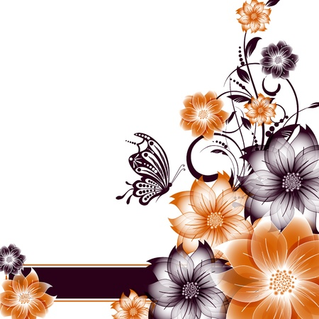 abstract vector flower background with butterfly Stock Vector - 17007468