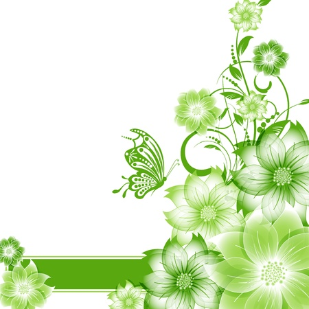 abstract vector flower background with butterfly Stock Vector - 17007470