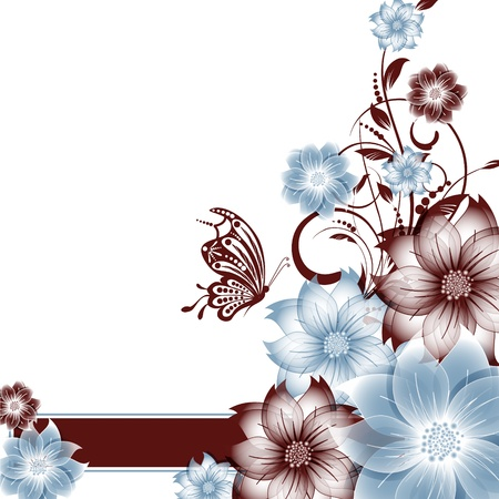 abstract vector flower background with butterfly Stock Vector - 17007469