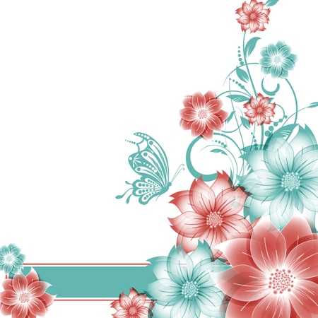 abstract vector flower background with butterfly Stock Vector - 17007474