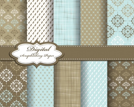 compendium: set of vector pattern paper for scrapbook