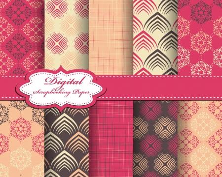set of pattern paper for scrapbook Stock Vector - 17208799