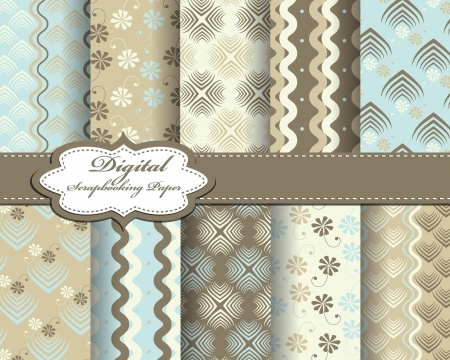 set of vector abstract pattern paper for scrapbook Stock Vector - 17239410