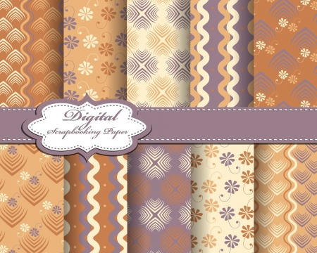set of vector abstract pattern paper for scrapbook Stock Vector - 17239414