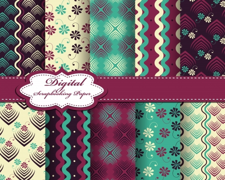 set of abstract pattern paper for scrapbook Stock Vector - 17239392