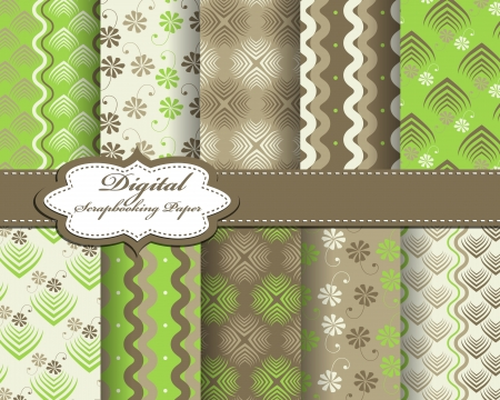 set of abstract pattern paper for scrapbook Vector