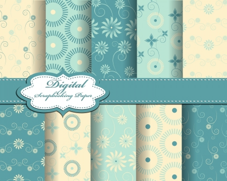 set of vector flower pattern paper for scrapbook Stock Vector - 17562975
