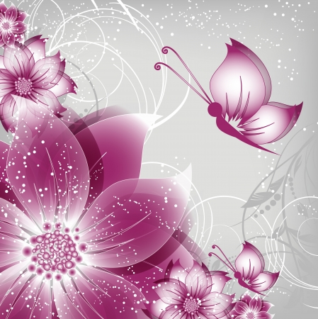 butterfly on flower: vector floral decorative abstract background with butterfly