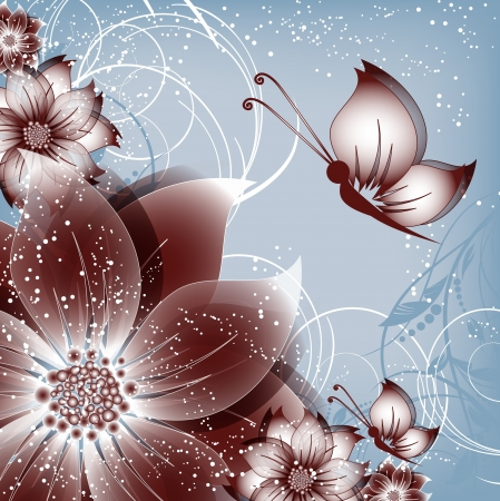 vector floral decorative abstract background with butterfly Stock Vector - 17894085