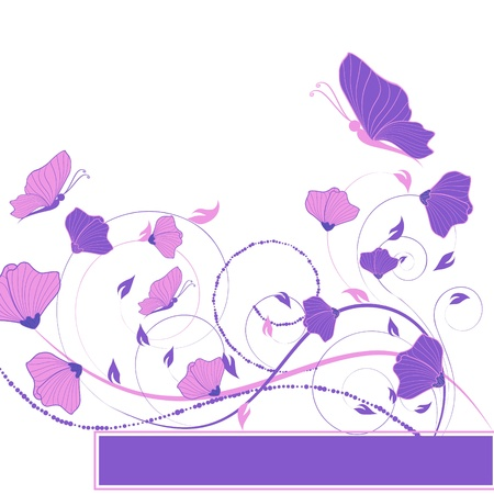 abstract vector flower background with butterfly Stock Vector - 17894093