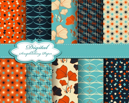 set of vector abstract flower pattern paper for scrapbook  Vettoriali