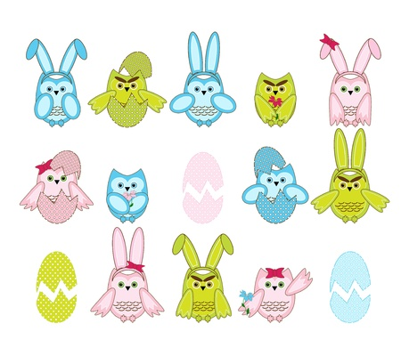 set of vector cute Easter owls on white background Vector