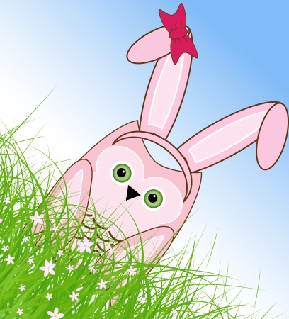 vector Easter owl rabbit sunny spring green field and blue sky Vector