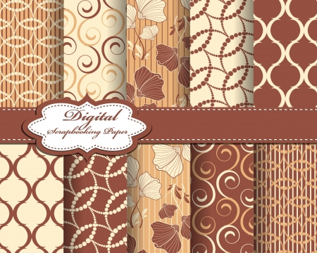 set of vector abstract flower pattern paper for scrapbook  Ilustrace