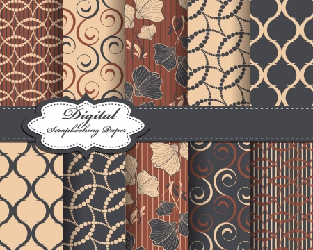 set of vector abstract flower pattern paper for scrapbook  Vector