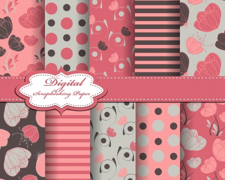 set of vector abstract flower pattern paper for scrapbook  Stock Vector - 18706992