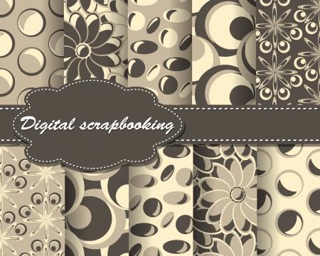 set of vector flower pattern paper for scrapbook Vector