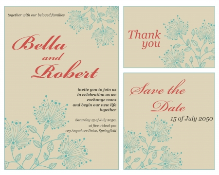 Set of wedding or invitation card. abstract flower pattern background Vector