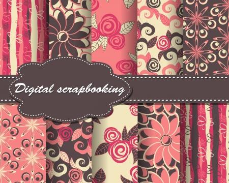set of flower pattern paper for scrapbook Vector