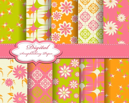 set of flower pattern paper for scrapbook Vector