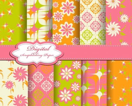 compendium: set of flower pattern paper for scrapbook