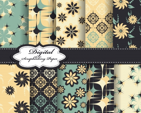 decoratively: set of flower pattern paper for scrapbook