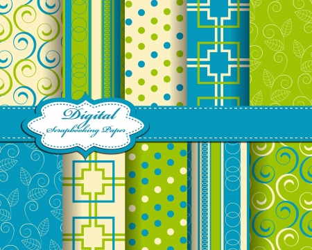 decoratively: set of abstract pattern paper for scrapbook  Illustration
