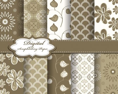 set of flower abstract pattern paper for scrapbook