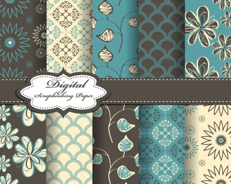 compendium: set of flower abstract pattern paper for scrapbook