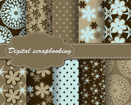 decoratively: set of flower abstract pattern paper for scrapbook