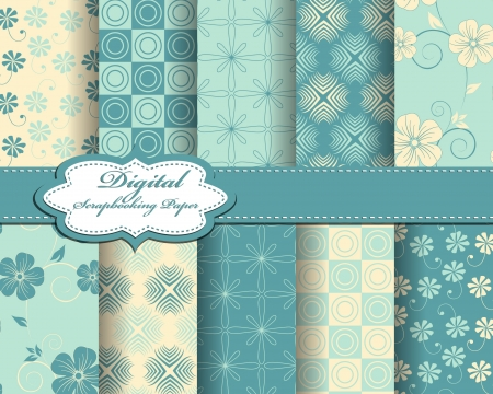 set of abstract flower pattern paper for scrapbook Stock Vector - 21378751