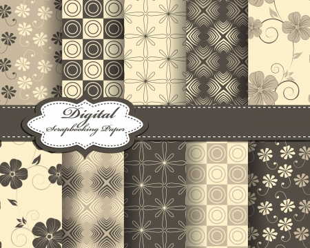 set of abstract flower pattern paper for scrapbook Stock Vector - 21378754