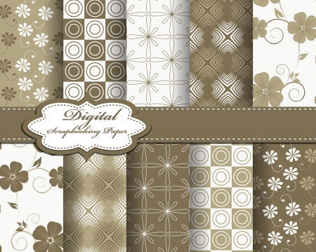 set of abstract flower pattern paper for scrapbook Stock Vector - 21378764