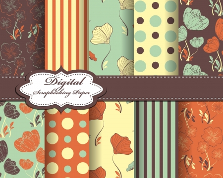 set of abstract flower pattern paper for scrapbook with butterfly Vector