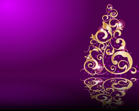 merrily: Vector stilizzato albero di Natale dorato
