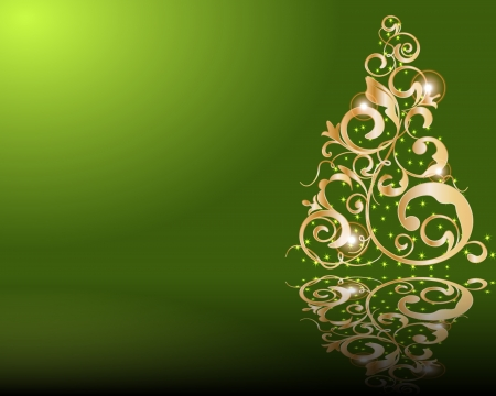 Vector stylized golden Christmas tree