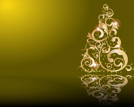 merrily: Vector stylized golden Christmas tree