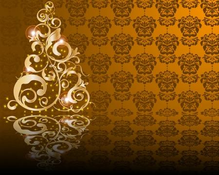merrily: stylized golden Christmas tree on damask background