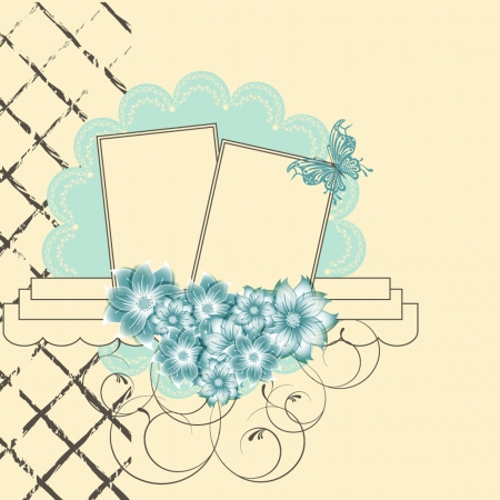 Floral scrapbook card with butterfly. vector illustration. Vector