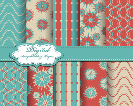 decoratively: set of vector abstract flower pattern paper for scrapbook