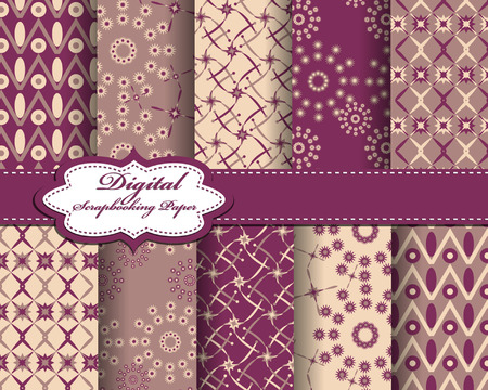 scrapbook paper: set of vector star abstract pattern paper for scrapbook Illustration