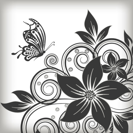 butterfly on flower: abstract vector flower background with butterfly Illustration