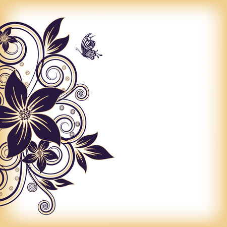 abstract vector flower background with butterfly Vector Illustration