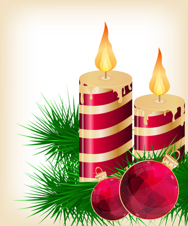 Christmas candle and ball decorate card vector illustration