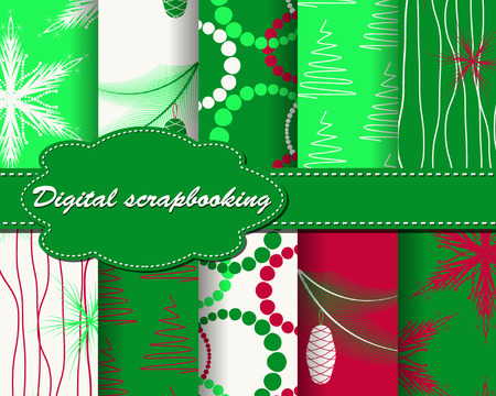 set of vector Christmas paper for scrapbook Ilustração Vetorial