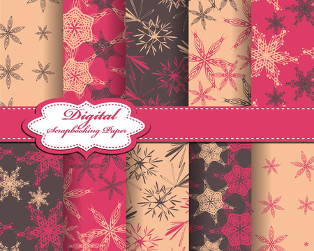 set of vector Christmas abstract snowflakes pattern paper for scrapbook